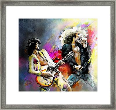 Jimmy Page And Robert Plant Led Zeppelin Framed Print by Miki De Goodaboom