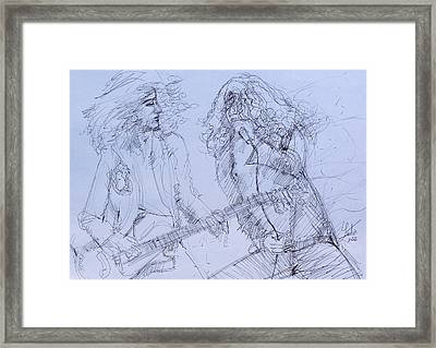 Jimmy Page And Robert Plant Live Concert-pen Portrait Framed Print by Fabrizio Cassetta