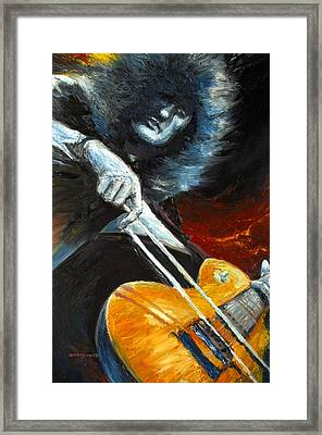 Jimmy Page Dazed And Confused Framed Print by Mike Underwood