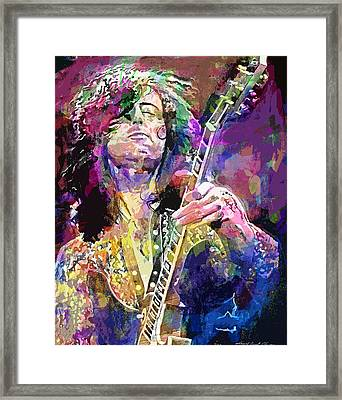 Jimmy Page Electric Framed Print by David Lloyd Glover