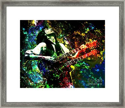 Jimmy Page - Led Zeppelin - Original Painting Print Framed Print by Ryan Rock Artist