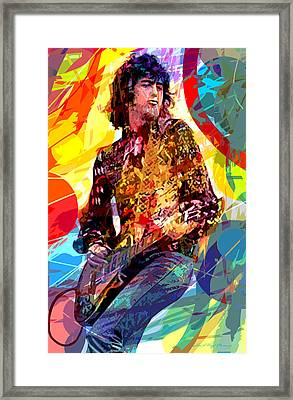 Jimmy Page Leds Lead Framed Print by David Lloyd Glover
