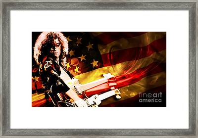 Jimmy Page Of Led Zeppelin Framed Print by Marvin Blaine