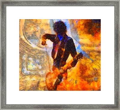Jimmy Page Playing Guitar With Bow Framed Print by Dan Sproul