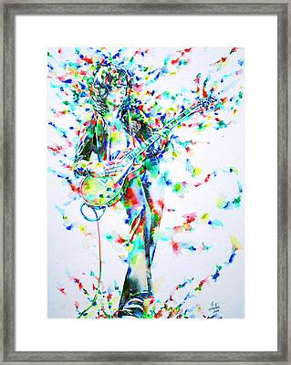 Jimmy Page Playing The Guitar - Watercolor Portrait Framed Print by Fabrizio Cassetta
