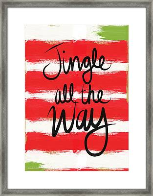 Jingle All The Way- Greeting Card Framed Print by Linda Woods
