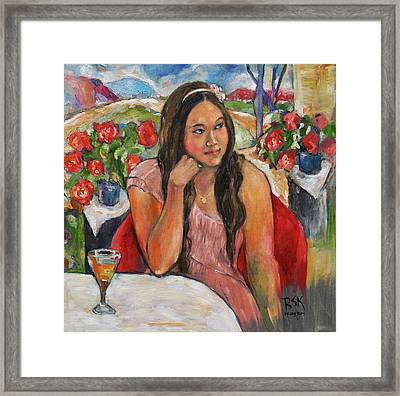 Jinny In Pink Dress Framed Print by Becky Kim