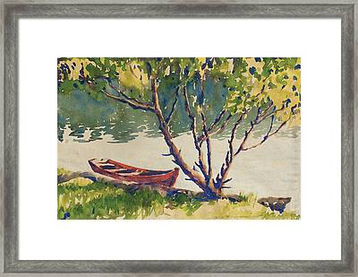 The Red Boat Framed Print by Kelly Fitzpatrick