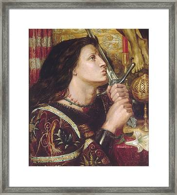 Joan Of Arc Kisses The Sword Of Liberation Framed Print by Philip Ralley
