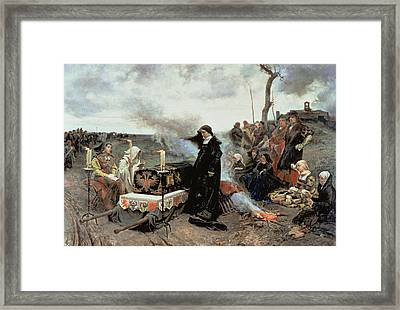 Joanna The Mad Accompanying The Coffin Of Philip The Handsome Framed Print by Francisco Pradilla y Ortiz