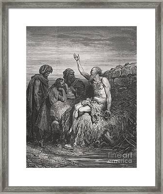 Job And His Friends Framed Print by Gustave Dore