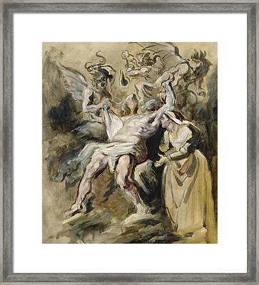 Job Tormented By The Demons Framed Print by Ferdinand Victor Eugene Delacroix
