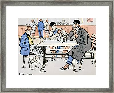 Jockey And Trainers In The Bar Framed Print by Thelem