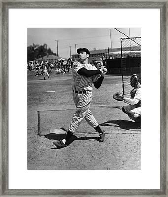 Joe Dimaggio Hits A Belter Framed Print by Gianfranco Weiss