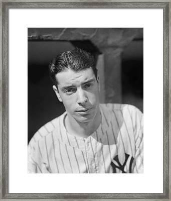 Joe Dimaggio In Dugout Looking Forward Framed Print by Retro Images Archive