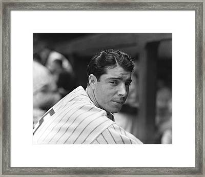 Joe Dimaggio In Dugout Framed Print by Retro Images Archive