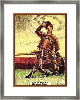 Joe Dimaggio Yankee Clipper Framed Print by Ray Tapajna