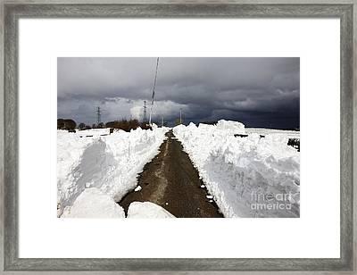 Joe Fox Fine Art - Path Cut Through Snowdrifts During Winter Northern Ireland Framed Print by Joe Fox
