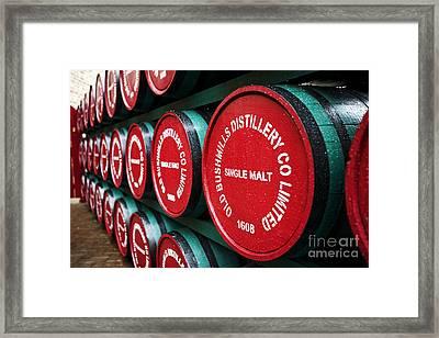 Joe Fox Fine Art - Single Malt Whiskey Barrels Of Old Bushmills Distillery Northern Ireland Framed Print by Joe Fox