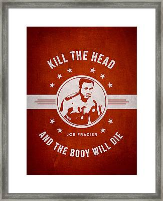Joe Frazier - Red Framed Print by Aged Pixel