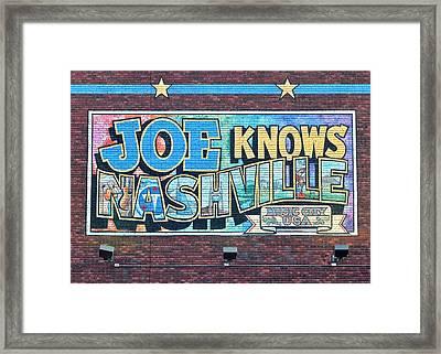 Joe Knows Nashville Framed Print by Frozen in Time Fine Art Photography