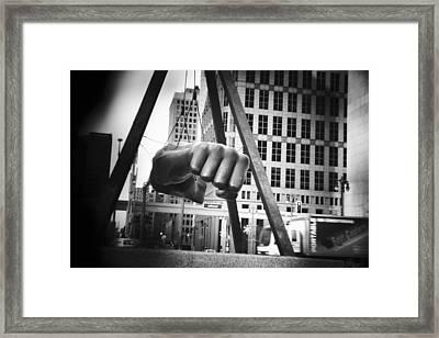 Joe Louis Fist Statue In Monochrome Framed Print by Gordon Dean II