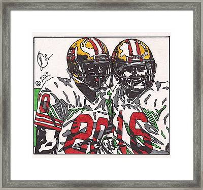 Joe Montana And Jerry Rice Framed Print by Jeremiah Colley
