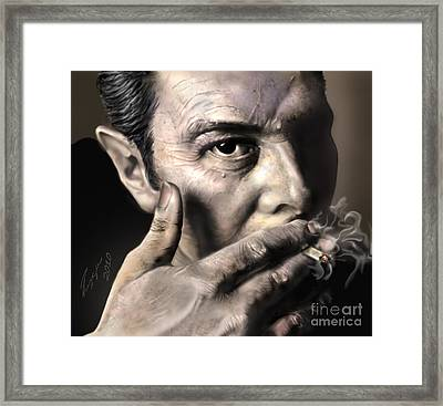 Joe Strummer-burning Lights Framed Print by Reggie Duffie