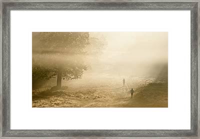 Joggers In Richmond Park London On A Crisp Foggy Autumn Morning Framed Print by Matthew Gibson