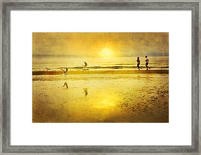 Jogging On Beach With Gulls Framed Print by Theresa Tahara