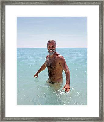 John At The Beach 1 Framed Print by Chris  Lopez