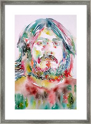 John Bonham Watercolor Portrait Framed Print by Fabrizio Cassetta