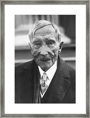 John D. Rockefeller At 88 Framed Print by Underwood Archives