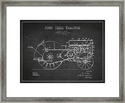 John Deer Tractor Patent Drawing From 1930 - Dark Framed Print by Aged Pixel