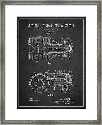 John Deer Tractor Patent Drawing From 1932 - Dark Framed Print by Aged Pixel
