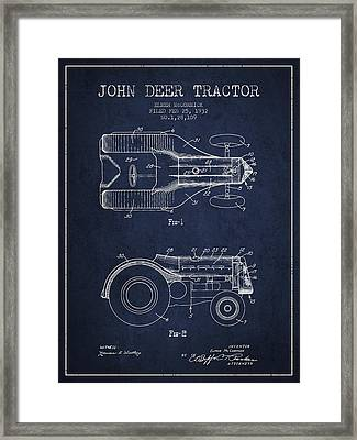 John Deer Tractor Patent Drawing From 1932 - Navy Blue Framed Print by Aged Pixel