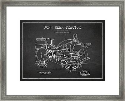 John Deer Tractor Patent Drawing From 1933 Framed Print by Aged Pixel
