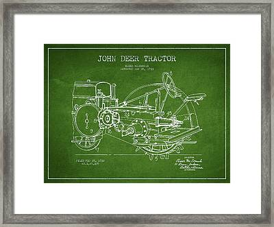 John Deer Tractor Patent Drawing From 1933 - Green Framed Print by Aged Pixel