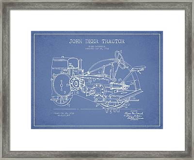 John Deer Tractor Patent Drawing From 1933 - Light Blue Framed Print by Aged Pixel