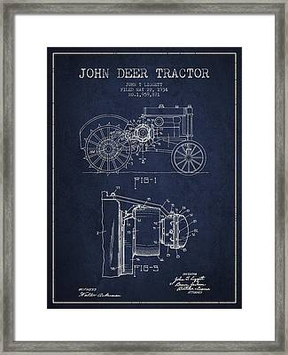 John Deer Tractor Patent Drawing From 1934 - Navy Blue Framed Print by Aged Pixel