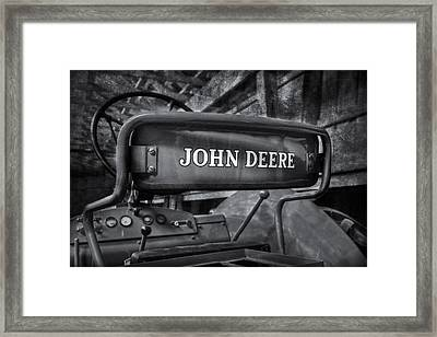 John Deere Tractor Bw Framed Print by Susan Candelario