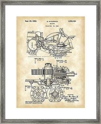 John Deere Tractor Patent 1932 - Vintage Framed Print by Stephen Younts