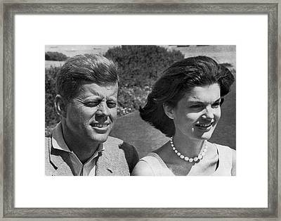 John F. Kennedy And Jacqueline Framed Print by Underwood Archives