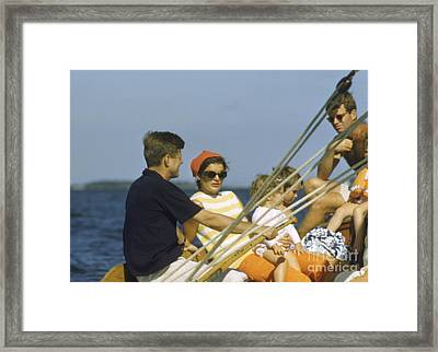 John F. Kennedy Boating Framed Print by The Phillip Harrington Collection
