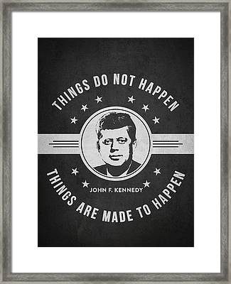 John F Kennedy - Dark Framed Print by Aged Pixel