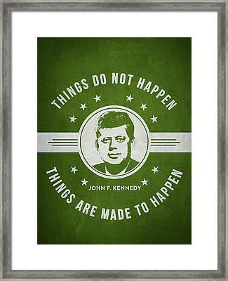 John F Kennedy - Green Framed Print by Aged Pixel