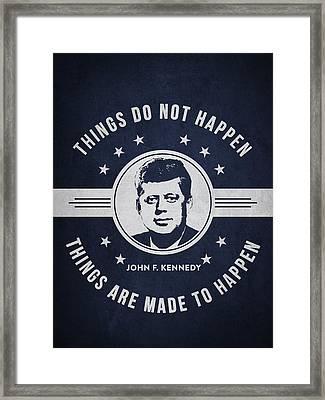 John F Kennedy - Navy Blue Framed Print by Aged Pixel