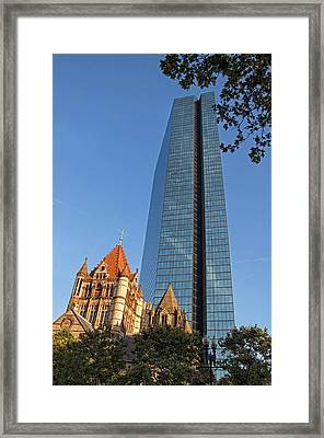 John Hancock And Trinity Church Framed Print by Joann Vitali