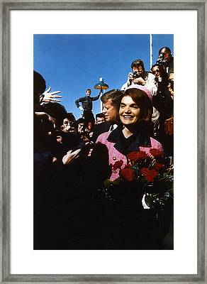 John Kennedy Arrives In Dallas Framed Print by Retro Images Archive
