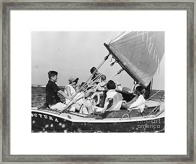 John Kennedy With Robert And Jacqueline Sailing Framed Print by The Phillip Harrington Collection